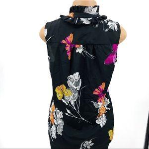 New York & Company Tops - NY&Co Butterflies Ruffle Neck Blouse